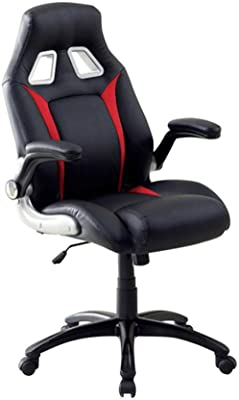 Benzara BM131850 Sporty Executive, Black and Red Argon Contemporary Racing Car Office Chair Black &