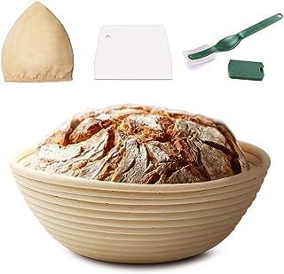 9 Inch Bread Banneton Proofing Basket Set Round Brotform Dough Bowl Bread Flour Proofing Rising Rattan Basket with Bread L...
