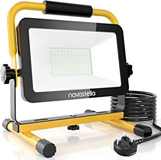 60W LED Work Light 6000lm, Novostella Upgraded Model Job Site Lights, IP65 Waterproof Outdoor Lighting 240V Stand Detachab...