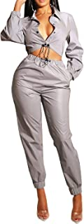 Women 2 Piece Outfits Tracksuit Buttons Reflective Jacket Bodycon Jumpsuits Set Clubwear