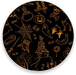 STAYTOP Halloween Absorbent Coasters For Drinks, Pumpkin Tree Owl House Web Ghost Ceramic Stone With Cork Backing Round Coaster, No Holder, Suitable for Kinds of Mugs and Cups Bar Black 2 Pcs