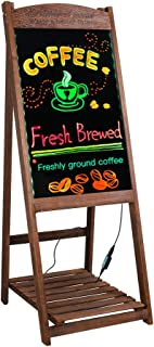 LED Message Writing Board Stand 42'' x 16'' Wood Chalkboard Sign with Display Shelf For Cafe, Restaurant,Club