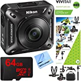 Nikon KeyMission 360 4K Ultra HD Action Camera with Built-in Wi-Fi + Outdoor Action Kit + 64GB Memory Card & Micro Fiber Cleaning Cloth
