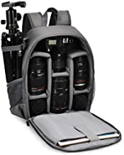 CADEN DSLR SLR Camera Bag Backpack for Mirrorless Cameras/Photographers, Camera Case Backpack Waterproof for Nikon Canon Sony Lens Tripod Accessories Photography Men Women (Small-Grey)