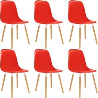 pedkit Sillas de Comedor Sillas Cocina Sillas Salon 6 Unidades plástico Rojo