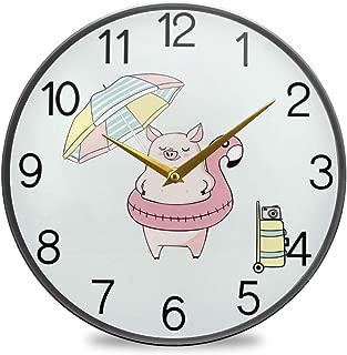 Chovy 掛け時計 サイレント 連続秒針 壁掛け時計 インテリア 置き時計 北欧 おしゃれ かわいい 豚 かわいい 可愛い フラミンゴ アニマル ブルー 部屋装飾 子供部屋 プレゼント