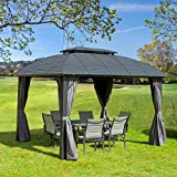 Outdoor Hardtop Gazebos (2021 New) - Patio Double Roof Gazebo Galvanized Steel Canopy Aluminum Frame Tent with Privacy Sidewall and Netting by domi outdoor living (Maldives 10x12ft)