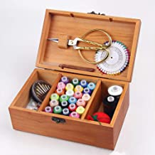 Wustrious Retro Wooden Sewing Box Treasure Box Needle Thread Storage Box 21.5x13.5x9.0cm