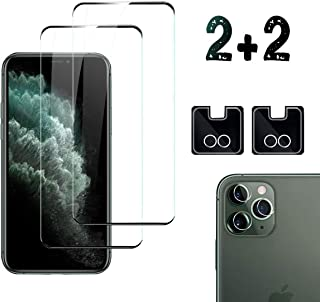 [2Pack] iPhone 11 Pro Screen Protector & [2Pack] Camera Lens Protector, Full-Coverage Tempered Glass Anti-Scratch, Bubble ...
