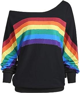 MOVERV Mujeres Otoño Invierno Elegante Camisetas Suéter Fuera del Hombro Rayas Arcoiris Impresas Sudaderas Pulóver Manga L...