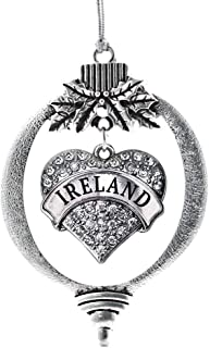 Best Inspired Silver - Ireland Charm Ornament - Silver Pave Heart Charm Holiday Ornaments with Cubic Zirconia Jewelry Review