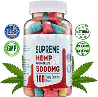 Supreme Hemp Big Gummies by New Age Naturals - 5000mg- 100ct. 50mg Per Gummy- Organic Hemp Extract Infused - Relaxing, Pain Relief, Stress & Anxiety Relief