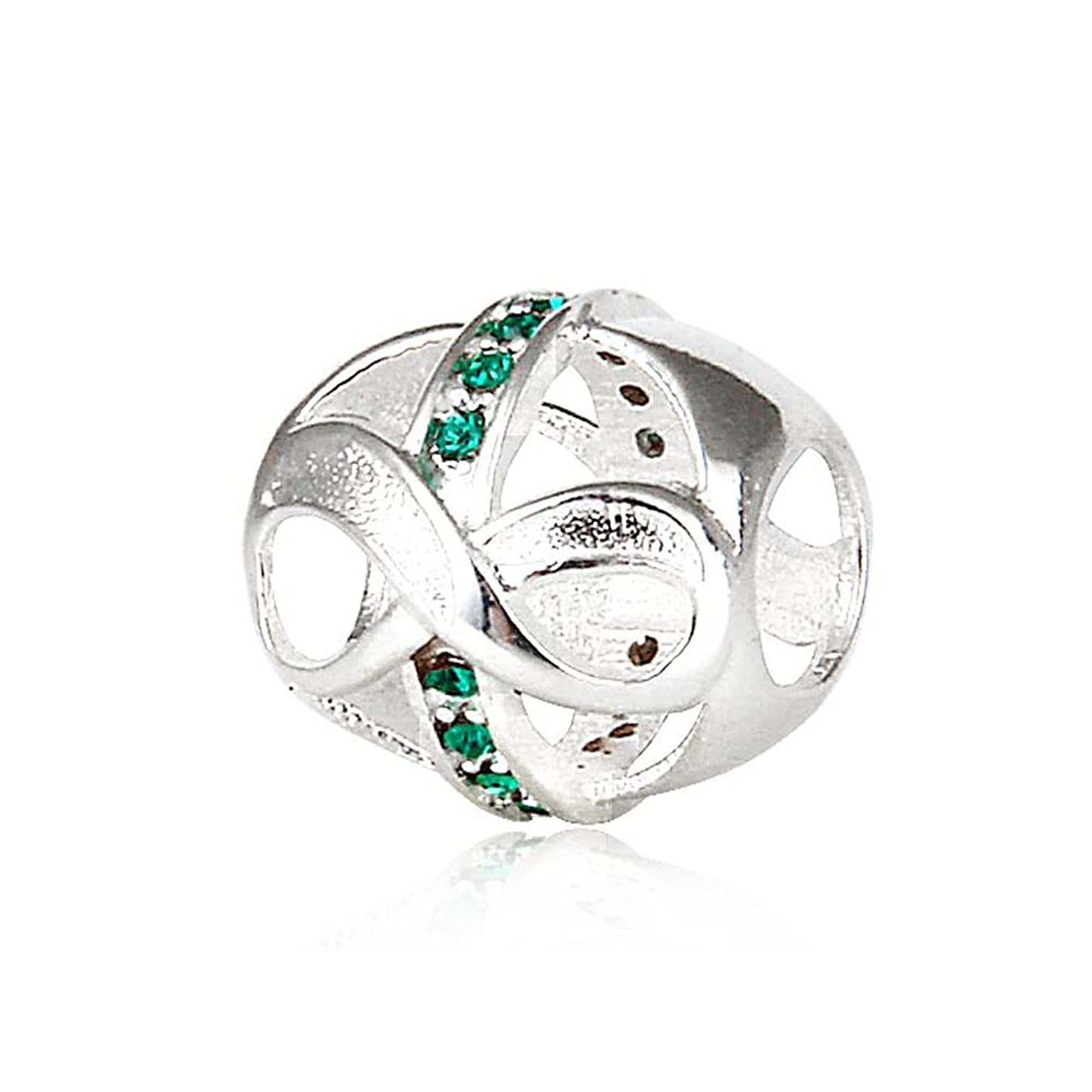 Infinity Love with Simulated Emerald Color Crystal May Birthstone 925 Sterling Silver Bead Fits Pandora Charm Bracelet