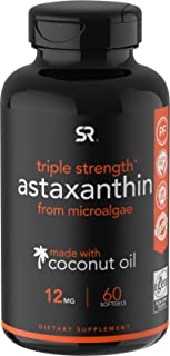 Astaxanthin (12mg) with Organic Coconut Oil for Better Absorption   Non-GMO and Gluten Free - 60 Mini Softgels (2 Month Su...