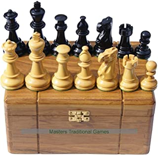 Masters Traditional Games Jester 10x10 Chess Set - Black/Natural in Teak Box (no Board)