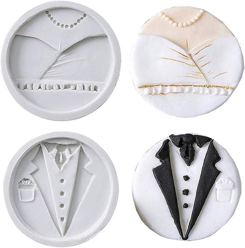 Jurxy 2PCS Silicone Fondant Cake Decorating Mold Moustache Beard Wedding Dress Costume Cake Decoration Gray