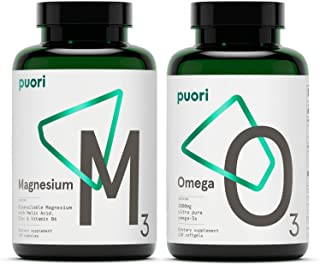 Puori Omega 3 Fish Oil and Magnesium Zinc Supplement Bundle