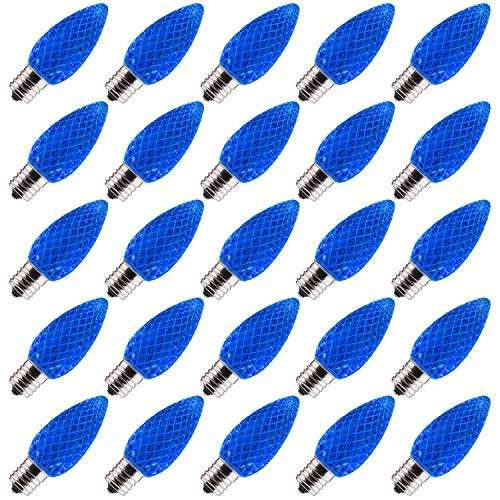 25 Pack C9 LED Replacement Christmas Light Bulb, C9 Shatterproof LED Bulb for Christmas String Light, E17 Intermediate Base, Commercial Grade Dimmable Bulbs, 2 Diode (LEDs), Blue
