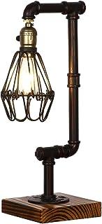 Injuicy Loft Retro Industriel Socle en Bois Lampes Métal Edison E27 Lampe