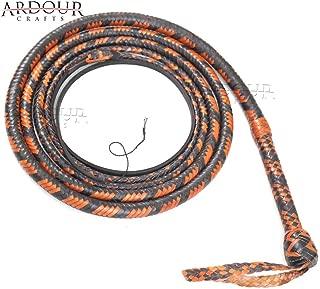 Ardour Crafts Kangaroo Hide Bull Whip 06 to 16 Feet, 16 Plaits Custom BULLWHIP Belly and Bolster Construction Indiana Jones Style Heavy Duty Tan & Black