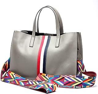 Fashion New Trend Casual Fashion Bills Shoulder Slung Large Capacity Cowhide Handbag (Color : Gray)