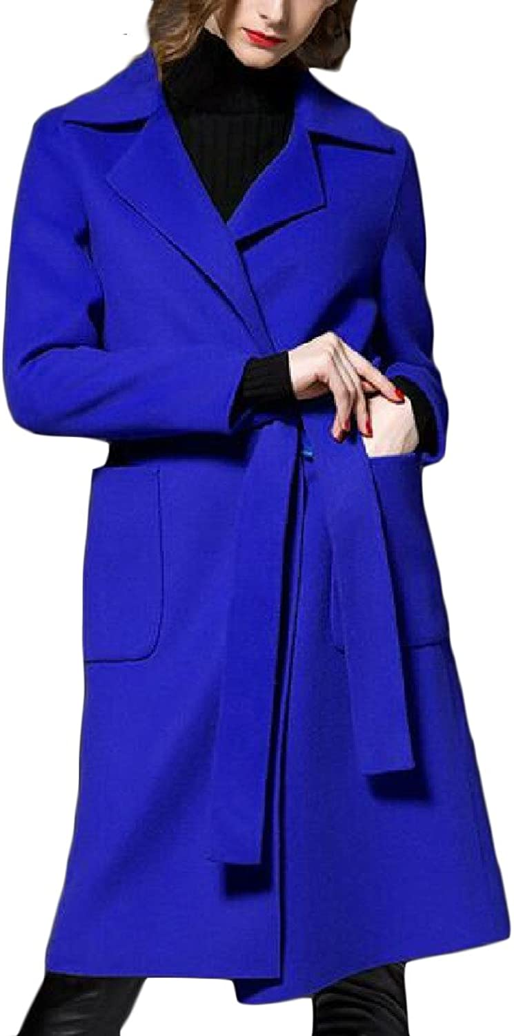 Comfy Women With Pocket Allmatch MidLength Plus Size Wool Peacoats