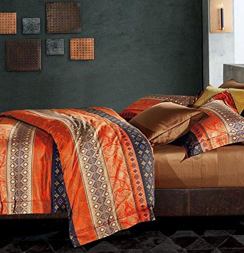 Bohemian Duvet Cover Striped Ethnic Boho Reversible Southwestern 400TC Cotton King Size Bedding 3pc Set Navy White Orange Modern Geo Aztec Print (King, Fire Orange)