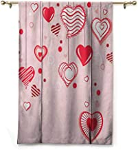 Roman Curtain Love,Contour Hearts Hanging on Strings Romantic Anniversary Valentine`s Day Happy Print, Rose Red Pink,36