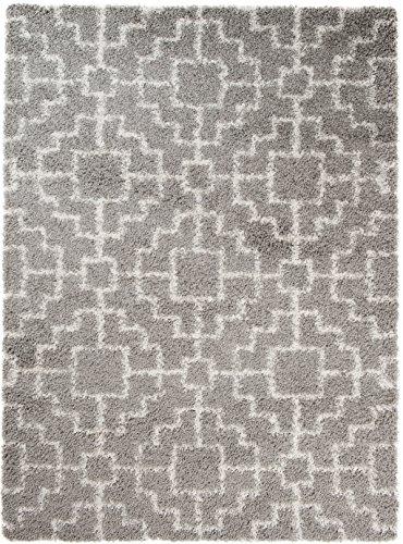 Carpeto Rugs Tapis Shaggy de Salon à Longs Poils Gris Clair 200 x 290 cm Moderne Geometrique/Ilusia Collection