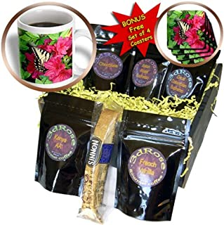 3dRose Lee Hiller Photography Hot Springs National Park - Wildlife Yellow Butterfly in Pink Azalea - Coffee Gift Basket (c...