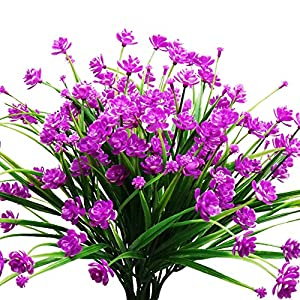YOSICHY Artificial Fake Flowers, 4 Bundles Outdoor UV Resistant Greenery Shrubs Plants for Outside Hanging Planter Home Kitchen Office Wedding Garden Decor(Fushia)