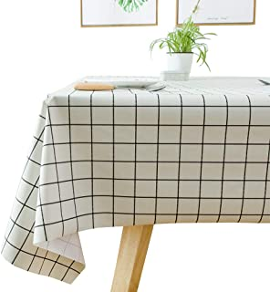 JZY Heavy Duty Vinyl Table Cloth for Kitchen Dining Table Wipeable PVC Tablecloth for Rectangle Table (54'' x 72'', White Plaid)