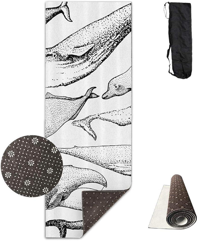 70inch Long 28inch Wide Comfort Velvet Yoga Mat, Whale Mat Carrying Strap & Bag