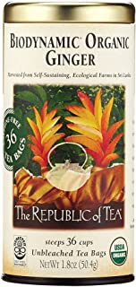 The Republic of Tea Biodynamic Ginger Herbal Tea, 36 Tea Bag Tin