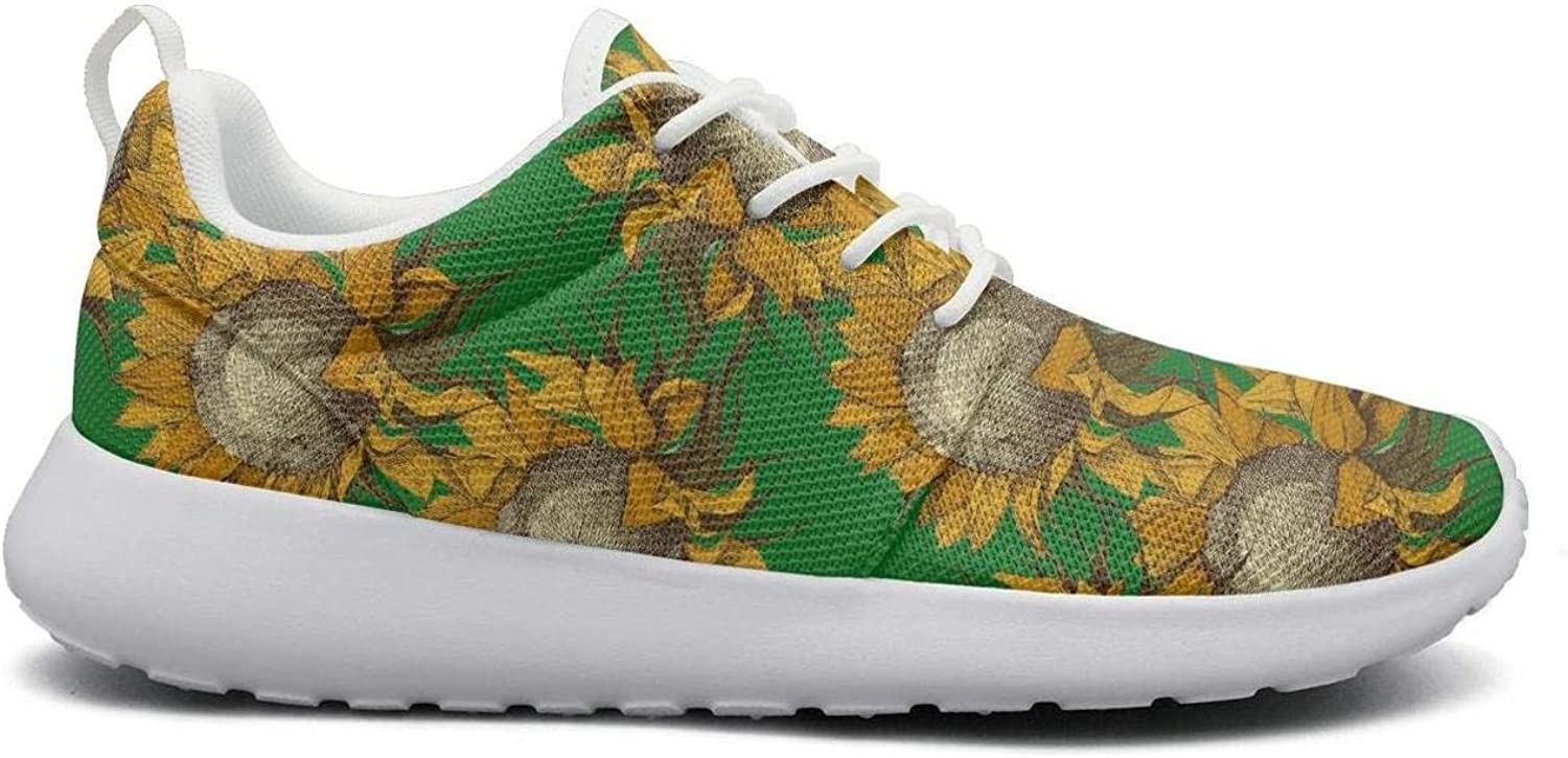 CHALi99 Fashion Womens Lightweight Mesh shoes Green Vintage Retro Large Sunflowers Sneakers Athletic LaceUp