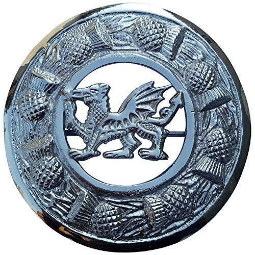 Hombres Kilt Broche Tela Escocesa Dragón de Gales Acabado en Cromo 3'/Highland Celta Pin & Broches Irlandés