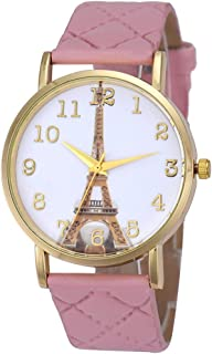 Creazy Paris Eiffel Tower Women Faux Leather Analog Quartz Wrist Watch (Pink)