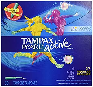 Tampax Pearl Active Plastic, Duopack, Unscented Tampons, 36-Count (Pack of 6)