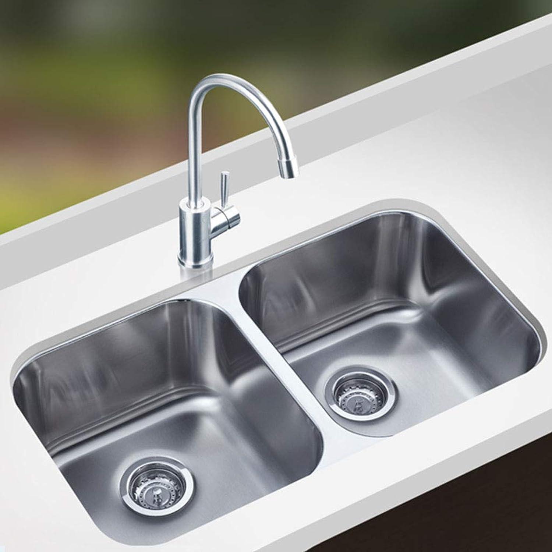 304 Edelstahl-Spülbecken aus gebürstetem Edelstahl Handgearbeiteter Doppel-Schlitz unter dem Waschbecken Küchenspülen