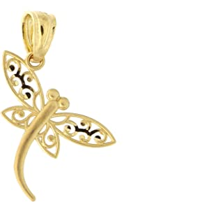 14k Yellow Gold Filigree Dragonfly Pendant