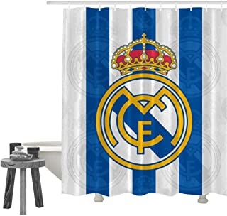 SHDU Real Madrid Blue and White Football Waterproof Shower Curtain Polyester Fabric Digital Printing Bathroom Curtain with Hooks