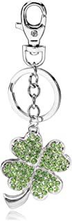 Liavy's Green Irish 4 Leaf Clover Charm Fashionable Keychain - Sparkling Crystal - Unique Gift and Souvenir