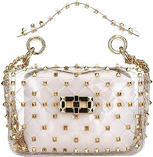 Womens Clear Bag 2 in 1 Tote Bag Rivet Transparent Design Handbag Metal Chain Clutch Purse Shoulder Bags