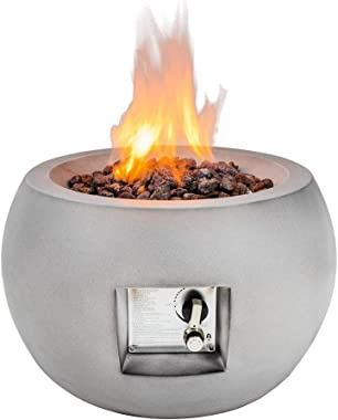 Limor Propane Fire Pit Outdoor, Propane Gas Fire Bowl with Lava Rocks Cover, Auto-Ignition Outdoor Fireplace for Courtyard Ba