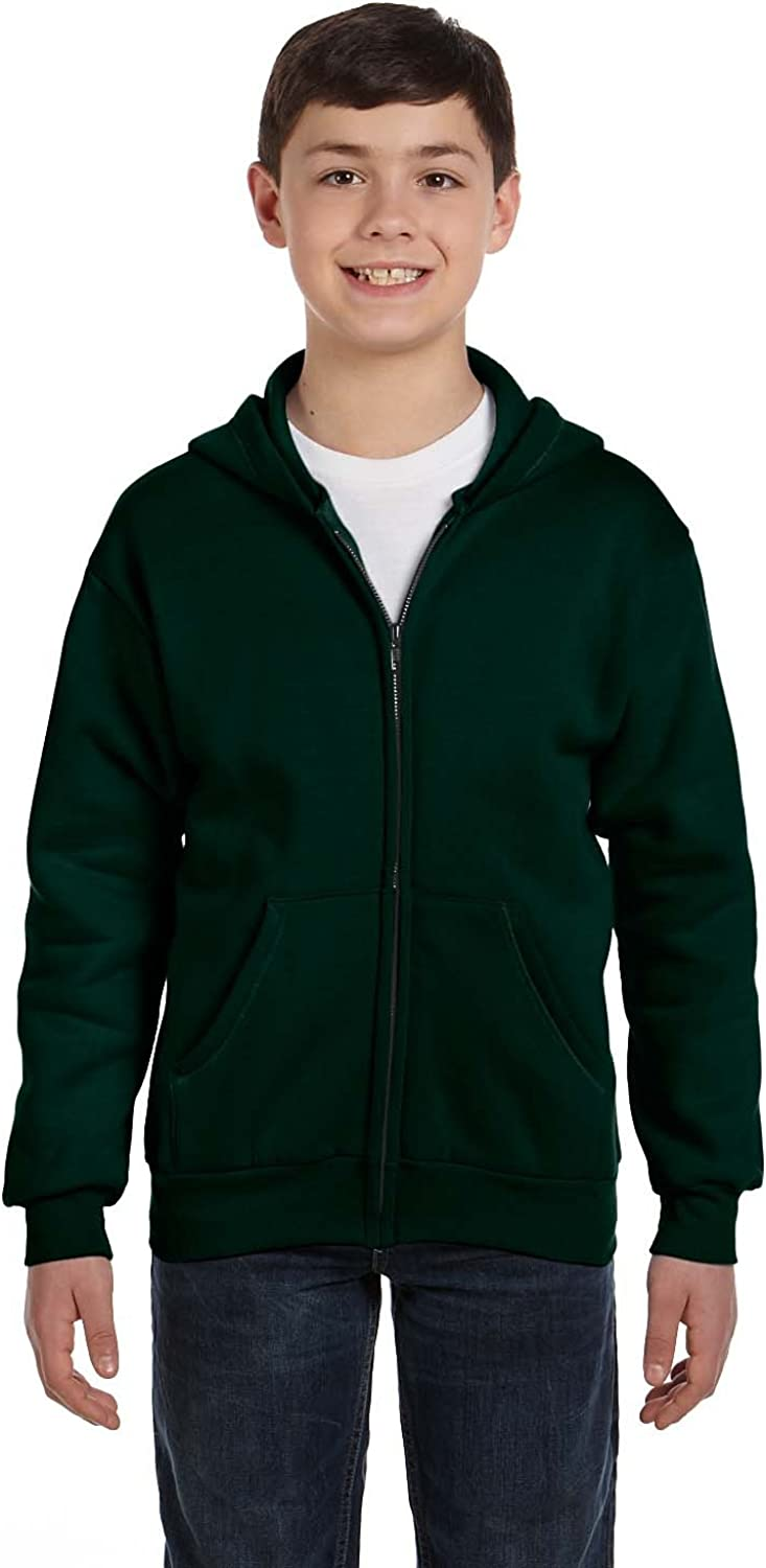By Hanes Hanes Youth 78 Oz EcoSmart 50/50 Full-Zip Hood - Deep Forest - M - (Style # P480 - Original Label)