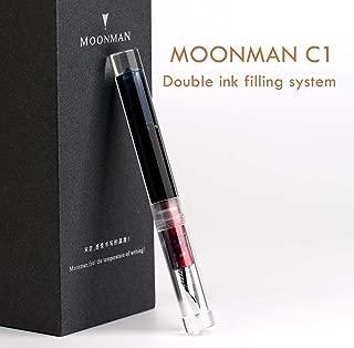 Moonman C1 Eyedropper Filling Fountain Pen Double Ink Filling System Original Box (Transparent, Fine Nib 0.6mm)