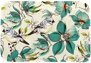 EGGDIOQ Doormats Green Flowers and Birds Custom Print Bathroom Mat Waterproof Fabric Kitchen Entrance Rug, 23.6 x 15.7in