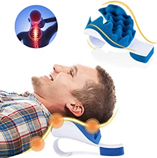Chiropractic Pillow,Neck and Shoulder Pain Relief Support Relaxer Cervical Pillow Massage Traction Device to Help Ease Nec...
