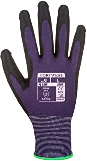 PU Touchscreen Gloves - Work Glove for Men and Women (Extra Small, Purple/Black, 12 Pairs)