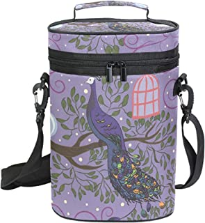 Insulated Wine Tote Carrier Peacock Tree Branch 2 Bottle Wine Carry Cooler Tote Bag for Travel or Picnic, Perfect Wine Lover Gift